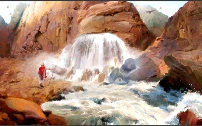 Moisés fere a rocha em Meribá