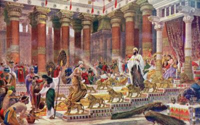 A rainha de Sabá vem visitar Salomão; As riquezas de Salomão; A idolatria de Salomão e a ira de Deus contra ele; A morte de Salomão