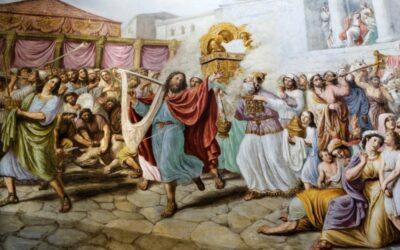 A arca é levada para Jerusalém; Mical despreza a Davi; Salmo de Davi em ações de graças; Outros dispositivos para o culto; A aliança do Senhor com Davi; Ações de graças de Davi